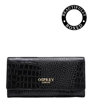 OSPREY LONDON | The Viola Black Leather Matinee Purse
