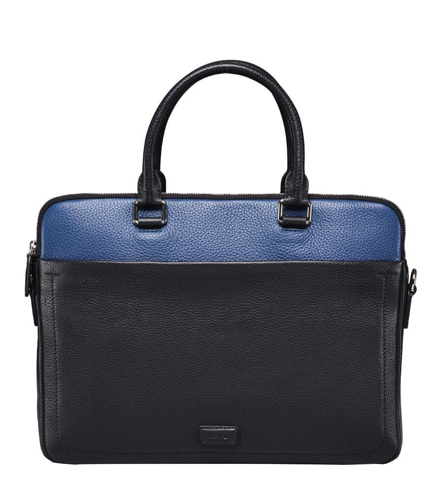 An image of The Black & Blue Leather Laptop Bag