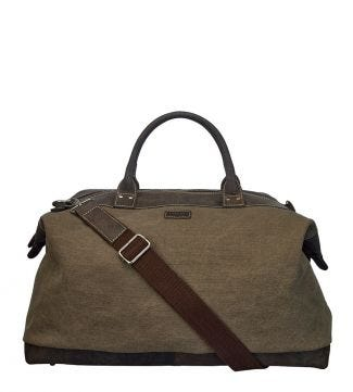 The Hunter Canvas & Leather Weekender in stone | OSPREY LONDON
