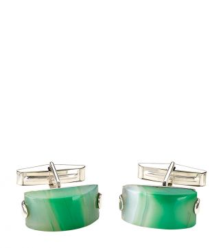 OSPREY LONDON Silver & Green Agate Cufflinks.