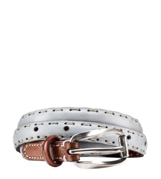 OSPREY LONDON | The Alchemist Skinny Leather Belt Stone