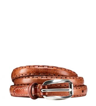 OSPREY LONDON | The Alchemist Skinny Leather Belt Honey