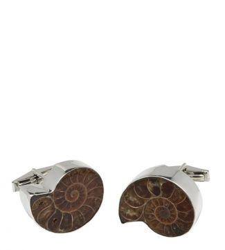 OSPREY LONDON Silver & Ammonite Cufflinks.