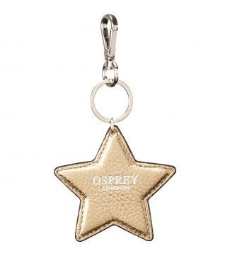 The Angelica Star Italian Leather Keyring in gold