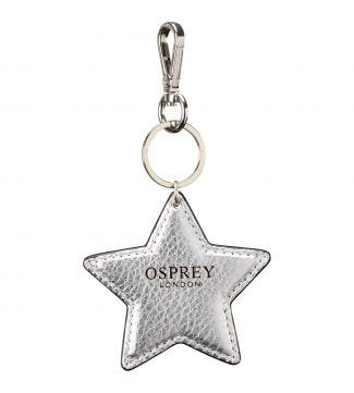 The Angelica Star Italian Leather Keyring in silver