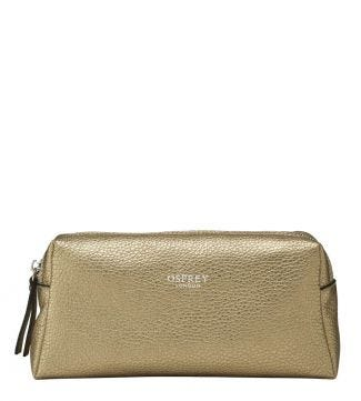 The Angelica Italian Leather Make-Up Bag in gold | OSPREY LONDON