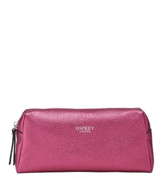 The Angelica Italian Leather Make-Up Bag in pink | OSPREY LONDON