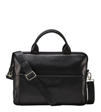 The Baltimore Leather Laptop Bag in black | OSPREY LONDON