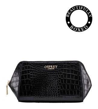 The Viola Leather Make-Up Bag in black | OSPREY LONDON