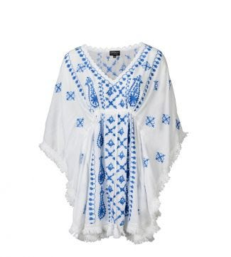 The Bebe Kaftan White & Cornflower Blue | Women | OSPREY LONDON
