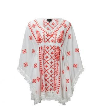 The Bebe Kaftan White & Coral | Women | OSPREY LONDON