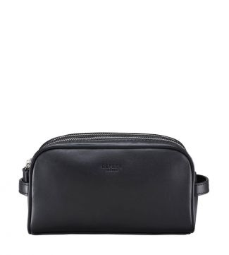 The Pall Mall Leather Washbag in black | OSPREY LONDON