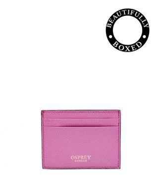 The Rainbow Leather Card Slip in pink | Women | OSPREY LONDON