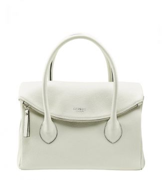 The Carina Italian Leather Grab bag in coconut white | OSPREY LONDON
