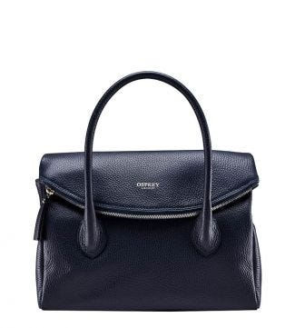 The Carina Italian Leather Organiser Grab in midnight blue | OSPREY LONDON