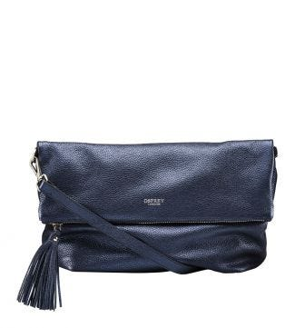 The Large Carina Italian Leather Cross-body in ocean blue | Women | OSPREY LONDON