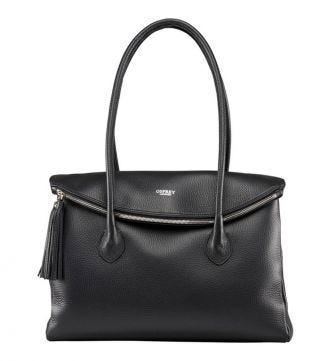 The Carina Italian Leather Workbag in black | OSPREY LONDON