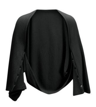 OSPREY LONDON | Cashmere Button Wrap Poncho Black