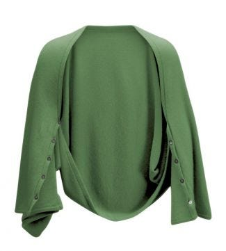OSPREY LONDON | Cashmere Button Wrap Poncho Leaf