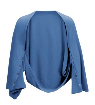 OSPREY LONDON | Cashmere Button Wrap Poncho Sea Spray