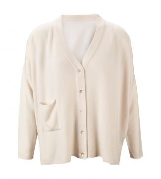 The Cocoon Cashmere & Silk Cardigan in pearl