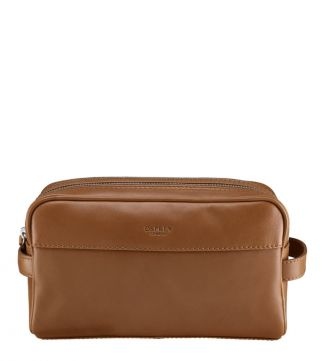 The Pall Mall Large Leather Washbag in cognac | OSPREY LONDON