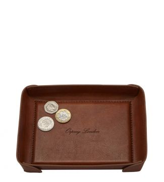 The Tamponato Leather Coin Tray in cognac   OSPREY LONDON
