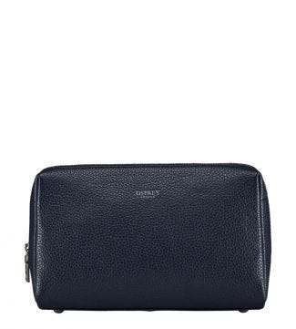The Daria Leather Washbag in midnight blue | OSPREY LONDON