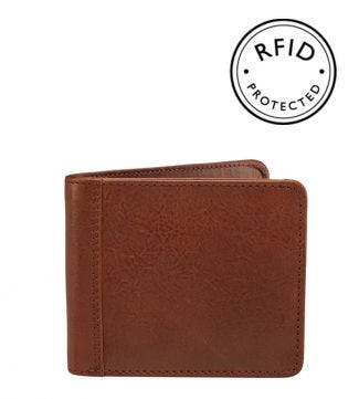 The Tamponato Leather E/W Billfold Wallet with Coin in cognac | OSPREY LONDON