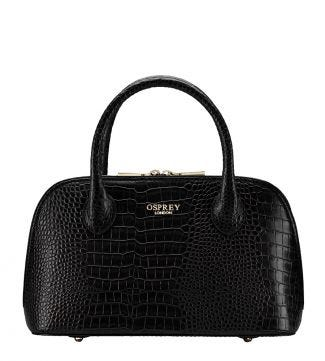 The E/W Bug Black Leather Grab in black | OSPREY LONDON