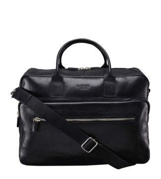 OSPREY LONDON The Farringdon Black Leather Weekender.