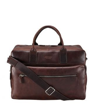 OSPREY LONDON The Farringdon Chocolate Leather Weekender.