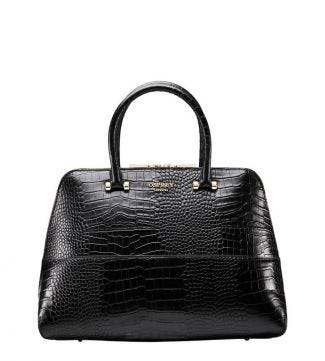The Fitzrovia Leather Grab in black | OSPREY LONDON
