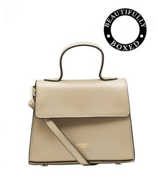 The Rainbow Leather Grab in taupe | OSPREY LONDON