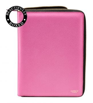 The Rainbow Large A4 Leather Document Case in pink