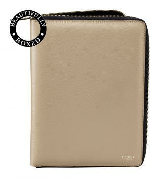 The Rainbow Large A4 Leather Document Case in taupe