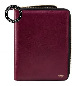 The Rainbow Large A4 Leather Document Case in wine