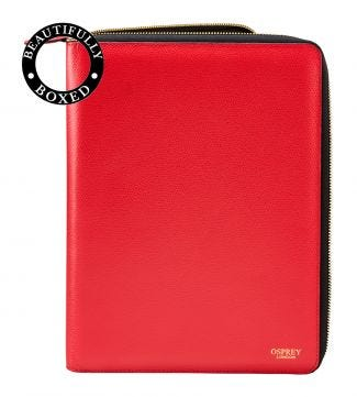 The Rainbow Large A4 Leather Document Case in red