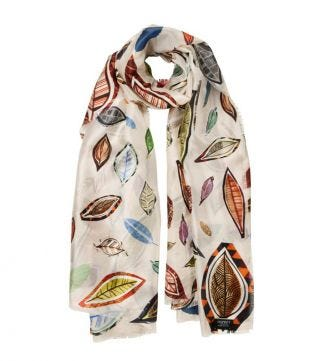 OSPREY LONDON | The Lucienne Floral Scarf cream