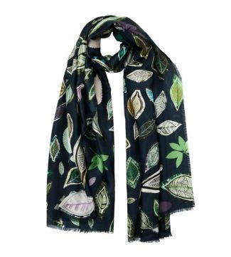 OSPREY LONDON | The Lucienne Floral Scarf Forest