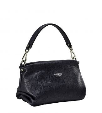 The Carina Midnight Italian Leather Grab in midnight blue