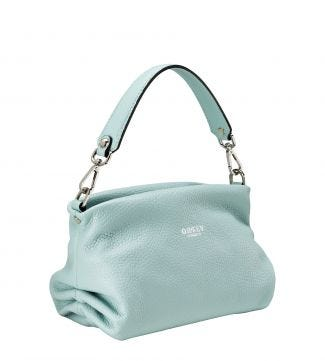 The Carina Shrug Italian Leather Handbag in mint green | OSPREY LONDON