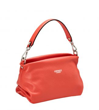 The Carina Shrug Italian Leather Handbag in papaya | OSPREY LONDON