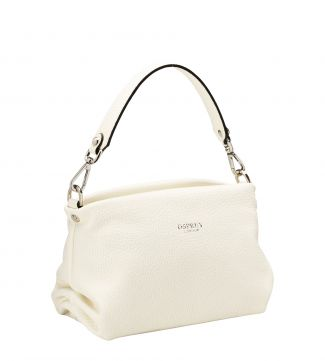 The Carina Shrug Italian Leather Handbag in pearl white | OSPREY LONDON