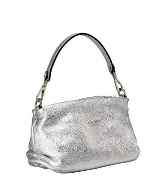 The Carina Shrug Italian Leather Handbag in silver | OSPREY LONDON