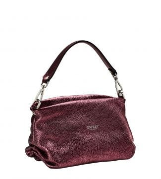 The Carina Shrug Italian Leather Handbag in metallic grape | OSPREY LONDON