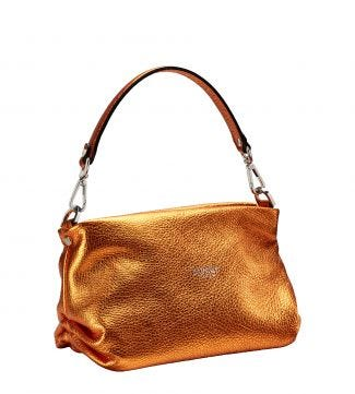 The Carina Shrug Italian Leather Handbag in metallic pumpkin