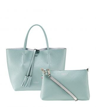 The Portofino 3 In 1 Italian Leather Grab in mint green | OSPREY LONDON