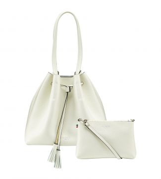 The Portofino Italian Leather Hobo in coconut white