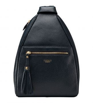 The Hampstead Leather Rucksack in navy blue